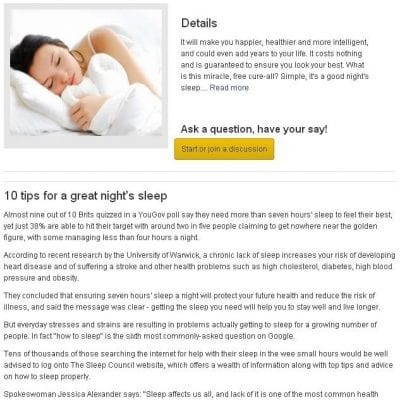 Sample online content about sleep