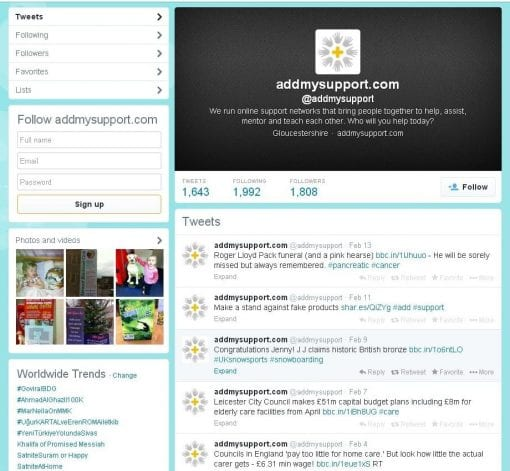 Twitter account page
