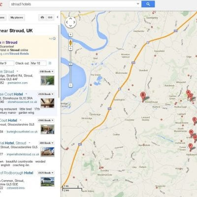 Local map and search results pages